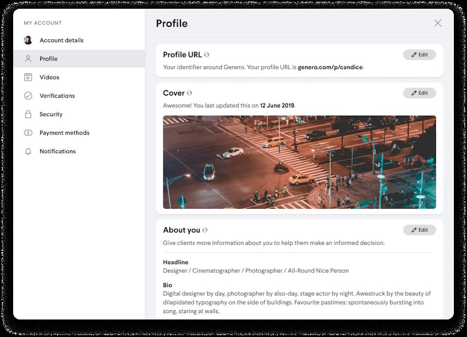 genero profile update cover image